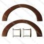 หูไม้ กระเป๋า โค้ง สีน้ำตาล ขนาด 1.2x23.5x10 cm.ห่วง 4 เหลี่ยม