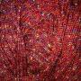 เชือกร่ม ถักกระเป๋า แซมดิ้นรุ้ง สีแดง